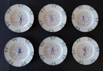 Six saucers with chinoiserie - Klösterle, year 187