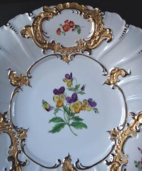 Meissen plate with pansies and gilded cartouche