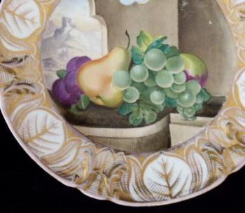 Plate with fruit and a view of the castle-Elbolgen